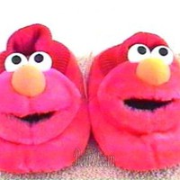 Licensed cool Sesame Street Muppets RED ELMO Plush Toddler SLIPPERS HOUSE Shoes L 9/10 NEW