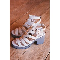 Fun Stuff Cage Silhouette Chunky Heel, Natural   Dirty Laundry