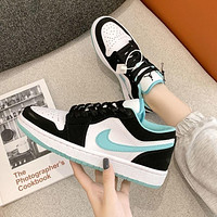 NIKE AIR JORDAN 1 classic color matching low-cut couple sneakers sports shoes Green&Black&White