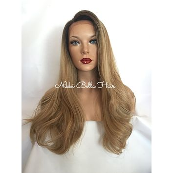 """Ash Blonde Human Multi Parting Hair Blend 22"""" Loose Curl Lace Front Wig"""