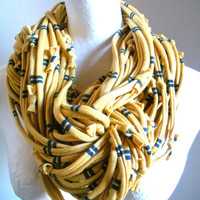 Chunky Mustard Yellow Infinity Scarf Fall Fashion Navy Blue Stripes Loop Scarf Circle Scarf Upcycled Clothing Winter Scarf Gifts Under 75