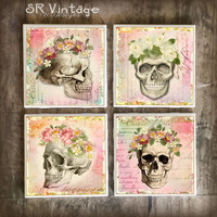 Shabby Skull Drink Coasters, Set of 4,  Sugar Skulls Ceramic Tiles, Skeleton and Flowers Bar Coasters, Hot and Cold Drinks, Made to Order