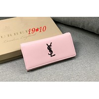 YSL Tide brand women's long flip wallet Pink