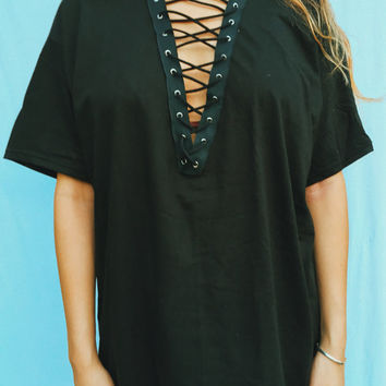 Black Lace-Up Tee