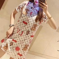 """Louis Vutitton LV"" Women Casual Multicolor Letter Print Short Sleeve T-shirt Dress"