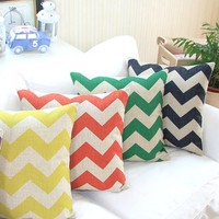 """MagicPieces Cotton and Flax Decorative Pillow Case Pillow Cover Case 18"""" x 18"""" Square Shape Colorful Waves B"""