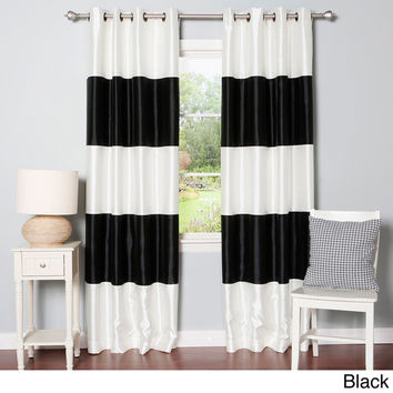 Striped Dupioni Grommet Top Blackout Curtain Panel Pair | Overstock.com Shopping - The Best Deals on Curtains