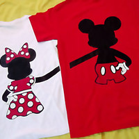 "Mini Version of  Mickey and Minnie Mouse Couples T-Shirts. 12""  by 12"""