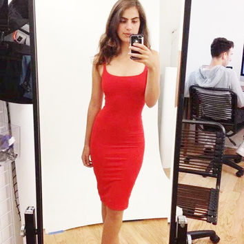 7 Color  American Apparel new fashion sexy dress women casual sheath Suspenders solid robe  Back split party dresses A