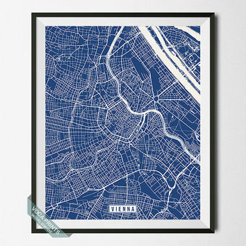 Vienna Print, Austria Poster, Vienna Poster, Vienna Map, Austria Print, Austria Map, Street Map, Home Decor, Map Decor, Wall Art