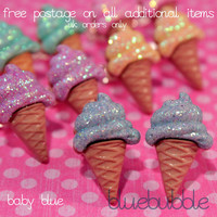 FUNKY GLITTER SPARKLE ICE CREAM EARRINGS SWEET CUTE KITSCH RETRO KAWAII EMO POP