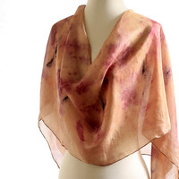 Gold silk scarf, brown silk shawl, gold brown purple black, naturally dyed scarf, walnut dyed eco print elderberries, long silk scarf