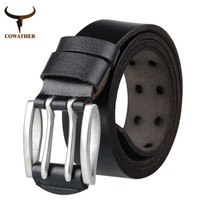 COWATHER New 2016 Fashionable double pin buckle mens belt for men genuine leather belts for men and women free shipping