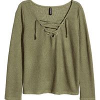 Fine-knit Top with Lacing - from H&M
