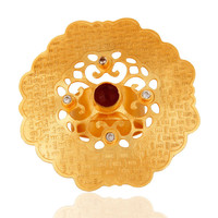 Red Aventurine Gemstone 18K Yellow Gold Plated Designer Cocktail Ring With CZ