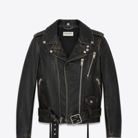 Signature Motorcycle Jacket in Black and Beige Distressed Leather