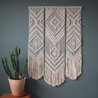 Macrame Wall Hanging > TRIO > 100% Cotton Cord in Natural Ecru with Bamboo