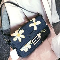 FENDI Classic Popular Women Retro Canvas Denim Handbag Sunflower Embroidery Satchel Shoulder Bag
