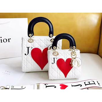 DIOR selling fashion peach embroidery single shoulder bag casual lady shopping bag White