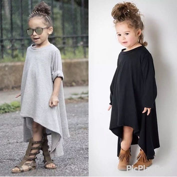 Kids Child Princess Long Sleeve Clothing Party Asymmetric Casual Girl Dress New = 1930081796