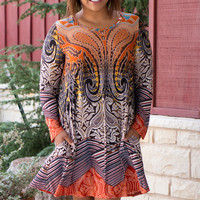 Girl With An Edge Baroque Print Dress With Pockets ~ Pumpkin ~ Sizes 12-18