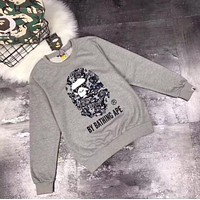 AAPE Fashion Print Long Sleeve Scoop Neck Top Sweater Pullover