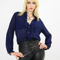 70s Navy Blue Sheer Blouse Button down slinky oversized