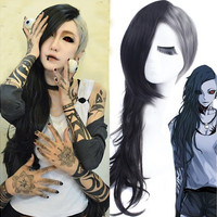 Tokyo Ghoul Anime Wig Long Curly Wavy Hair Cosplay Costume Black+Gray Layer Cut