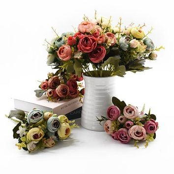 Silk Tea Roses Bride Bouquet for Home Wedding  Decoration Artificial Flowers 10Heads/1 Bundle FREE SHIPPING