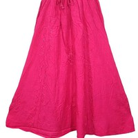 Womens Long Skirt Pink Embroidered Hippie Boho Vintage Maxi Skirts: Amazon.ca: Clothing & Accessories
