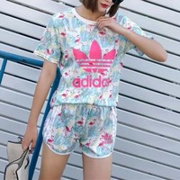 """Adidas"" Women Casual Fashion Flamingo Letter Print Short Sleeve Shorts Set Two-Piece Sportswear"