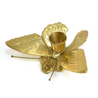 Brass Butterfly Candlestick Holder - Elegant Centerpiece or Shelf Decorative Accent, Solid Metal Cottage Chic Styling - Vintage Home Decor