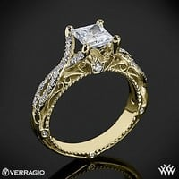18k Yellow Gold Verragio Pave Twist Diamond Engagement Ring