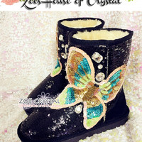 BLACK FRIDAY Sales 30% off - Bling and Sparly Black Winter BOOTS with Sequins and Rhinestone Butterfly
