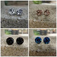 Druzy Earrings Set of 4 Black Druzy 8MM Silver Druzy 8MM Rose Gold Druzy 8MM Blue Druzy 10MM