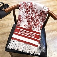 Dior Autumn And Winter Fashion New Letter Print Tassel Scarf Women