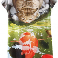Cat and Fish Print Graphic Tee