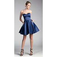 Strapless Homecoming Dress with Beaded Pockets Navy Blue