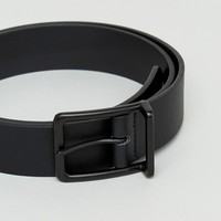 ASOS Wide Faux Leather Belt In Black With Matte Black Buckle at asos.com