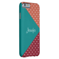 Monogram Red, Teal, Rust Red Polka Dots ColorBlock Barely There iPhone 6 Case