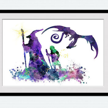 The Hobbit colorful poster Gandalf watercolor print Bilbo Baggins colorful poster Home decoration Kids room decor Wall hanging decor W358