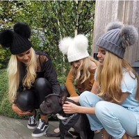 Autumn Winter Fashion All-match Solid Color Double Hairball Knit Hat Women Warm Hat