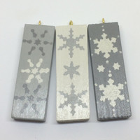 Christmas tree ornaments, Christmas decorations, wooden tree decor, painted snowflake tree decorations