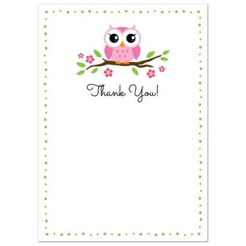 Pink owl on flowering branch, cute flat thank you note card