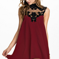 High Neck Sleeveless Velvet Skater Dress