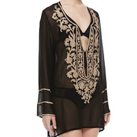 Belle Floral Beaded Tunic Coverup