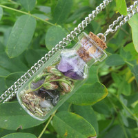 Travelling Amulet Necklace, Travel  Protection Pendant, Mugwort Amulet for Protection while Travelling, Witchcraft, Wicca, Witch Bottle