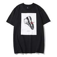 NIKE Air Jordan New fashioin shoes hook  print couple top t-shirt Black