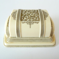 Art Deco Celluloid Ring Box Flowers Vintage Double Ring Box Holder