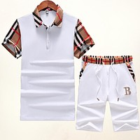 BURBERRY Fashionable Men Women Casual Shirt Top Tee Shorts Set Two-Piece White